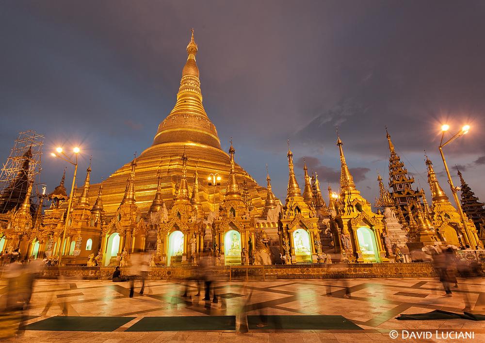 Yangon's famous Shwedagon Pagoda at dusk.