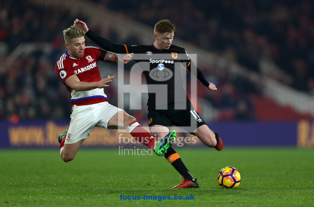 Adam Clayton of Middlesbrough and Sam Clucas of Hull City during the Premier League match at the Riverside Stadium, Middlesbrough<br /> Picture by Christopher Booth/Focus Images Ltd 07711958291<br /> 05/12/2016