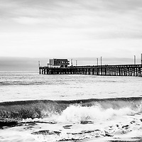 Newport Pier in Newport Beach. Newport Pier is on Balboa Peninsula in Orange County Southern California along the Pacific Ocean