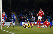 Gillingham's top goal scorer Bradley Dack puts Gillingham back in the lead during the Sky Bet League 1 match between Gillingham and Barnsley at the MEMS Priestfield Stadium, Gillingham, England on 13 February 2016. Photo by Andy Walter.