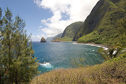 Hawaii: Molokai, cliffs and seafins at Kalawao, Waikoloa River Valley, scenic..Photo himolo106-72263..Photo copyright Lee Foster, www.fostertravel.com, lee@fostertravel.com, 510-549-2202