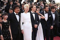 May 20, 2017 - Cannes, France - AHN SEO-HYUN, DIRECTOR BONG JOON-HO, TILDA SWINTON, PAUL DANO, LILY COLLINS, JAKE GYLLENHAAL AND DEVON BOSTICK - RED CARPET OF THE FILM 'OKJA' AT THE 70TH FESTIVAL OF CANNES 2017 (Credit Image: © Visual via ZUMA Press)