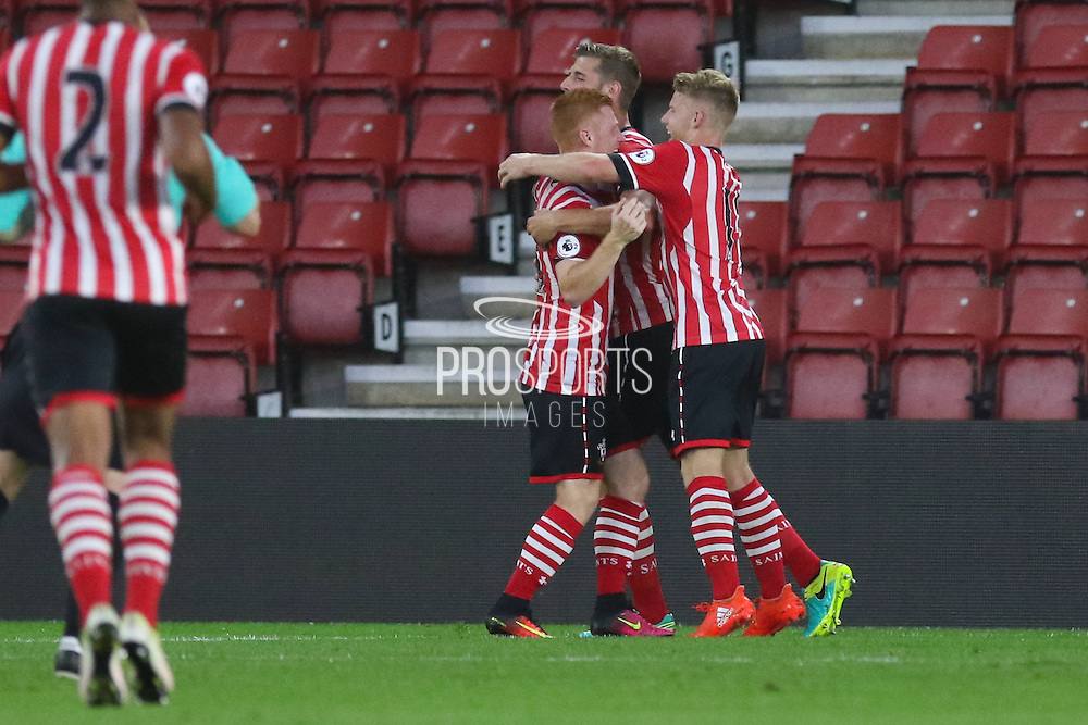 Josh Sims of Southampton U23's celebrates his goal 1-0 during the Under 23 Premier League 2 match between Southampton and Manchester United at St Mary's Stadium, Southampton, England on 22 August 2016. Photo by Phil Duncan.