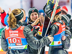 25.02.2019, Seefeld, AUT, FIS Weltmeisterschaften Ski Nordisch, Seefeld 2019, Skisprung, Damen, Teambewerb, Wertungssprung, im Bild v.l. Anna Odine Stroem (NOR), Silje Opseth (NOR), Maren Lundby (NOR) // f.l. Anna Odine Stroem Silje Opseth Maren Lundby of Norway during the competition jump for the ladie's skijumping HS109 team competition of FIS Nordic Ski World Championships 2019. Seefeld, Austria on 2019/02/25. EXPA Pictures © 2019, PhotoCredit: EXPA/ Stefan Adelsberger
