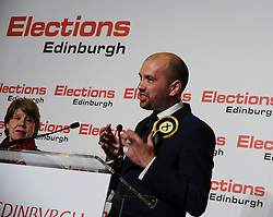Victorious SNP candidate Ben McPherson after winning Edinburgh Northern & Leith from Labour.<br /> <br /> © Dave Johnston/ EEm