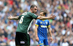 Peter Hartley of Plymouth Argyle organises his defence - Mandatory by-line: Robbie Stephenson/JMP - 30/05/2016 - FOOTBALL - Wembley Stadium - London, England - AFC Wimbledon v Plymouth Argyle - Sky Bet League Two Play-off Final