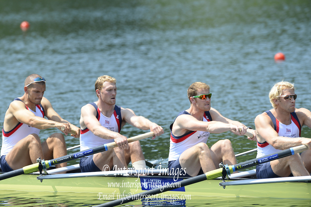 Lucerne. Switzerland. GBR1 M8+. Bow. Tom RANSLEY, Dan RICHIE, Peter REED, Will SATCH, Mo SBIHI, Alex GREGORY George NASH, Andy TRIGGS HODGE and cox,  Phelan HILL, move away from the start pontoon in their heat of the  men's eights. 2013 FISA WC. III. 13:48:22  Friday  12/07/2013  [Mandatory Credit, Peter Spurrier/ Intersport Images] Lake Rotsee,