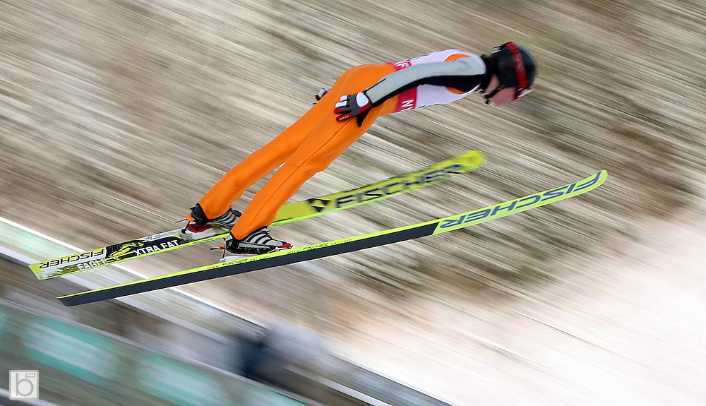 View of a Ski JUmper jumping from a ski jump in Lake Placid, N.Y..