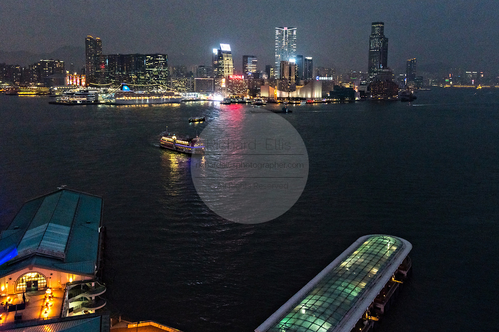 View over Victoria Harbour toward Kowloon from the Observation Wheel at AIA Vitality Park in the Central District of Hong Kong.