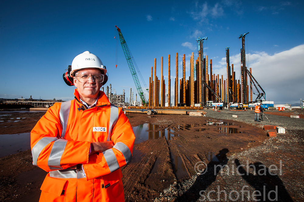 John McNally, Ineos MD at the constructiuon site of the new ethane storage tank at Grangemouth refinery. The Sun had access to the plant for a 'year on' tale (last year the plant closed following strike action - this is an update piece).