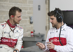 October 21, 2018 - Austin, USA - Members of the Alfa Romeo Sauber team talk before the start of the Formula 1 U.S. Grand Prix at the Circuit of the Americas in Austin, Texas on Sunday, Oct. 21, 2018. (Credit Image: © Scott Coleman/ZUMA Wire)