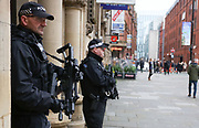 Police patrol and guard the Christmas Market and the busiest streets in central Manchester, United Kingdom on 7 December 2019.