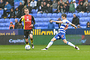 Reading FC midfielder (17) Lucas Piazon stretches for the ball ahead of Birmingham City midfielder (6) Maikel Kieftenbeld during the Sky Bet Championship match between Reading and Birmingham City at the Madejski Stadium, Reading, England on 9 April 2016. Photo by Mark Davies.