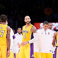 19 October 2014: Los Angeles Lakers forward Carlos Boozer (5) is seen during the Los Angeles Lakers 98-91 victory over the Utah Jazz, in a preseason game, at the Staples Center, Los Angeles, California, USA.