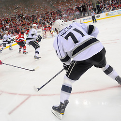 June 2, 2012: Los Angeles Kings center Jordan Nolan (71) looks for a passing lane on the power play during second period action in game 2 of the NHL Stanley Cup Final between the New Jersey Devils and the Los Angeles Kings at the Prudential Center in Newark, N.J.