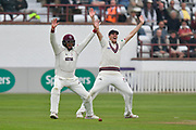 Marcus Trescothick of Somerset and Craig Overton of Somerset appeal for an LBW during the Specsavers County Champ Div 1 match between Somerset County Cricket Club and Middlesex County Cricket Club at the Cooper Associates County Ground, Taunton, United Kingdom on 26 September 2017. Photo by Graham Hunt.