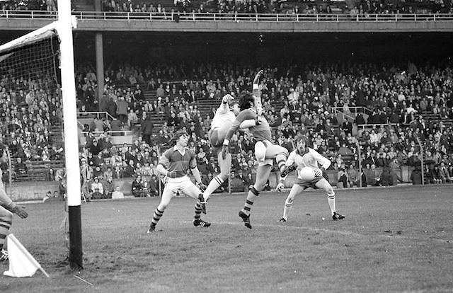 Kerry backs attempt to prevent Tyrone from getting a goal during the All Ireland Minor Gaelic Football Final, Tyrone v Kerry in Croke Park on the 28th September 1975.<br />