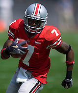 MORNING JOURNAL/DAVID RICHARD.Ohio State's Ted Ginn heads for the end zone on a 12-yard touchdown pass from Troy Smith against Cincinnati.