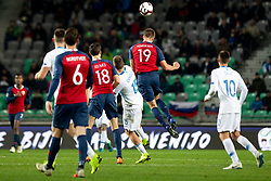 Crnigoj Domen of Slovenia and Markus Henriksen of Norway during football match between National Teams of Slovenia and Norway in Final Tournament of UEFA Nations League 2019, on November 16, 2018 in SRC Stozice, Ljubljana, Slovenia. Photo by Urban Urbanc / Sportida