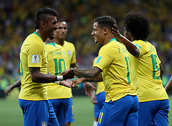 ROSTOV-ON-DON, June 17, 2018  Philippe Coutinho (2nd R) of Brazil celebrates scoring with teammates during a group E match between Brazil and Switzerland at the 2018 FIFA World Cup in Rostov-on-Don, Russia, June 17, 2018. (Credit Image: © Lu Jinbo/Xinhua via ZUMA Wire)