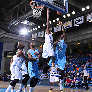 Delaware 87ers Forward Victor Rudd (23) drives towards the basket as Texas Legends Forward Eric Griffin (20) defends in the second half of a NBA D-league regular season basketball game between the Delaware 87ers and the Texas Legends (Dallas Mavericks) Sunday, Jan. 25, 2015 at The Bob Carpenter Sports Convocation Center in Newark, DEL