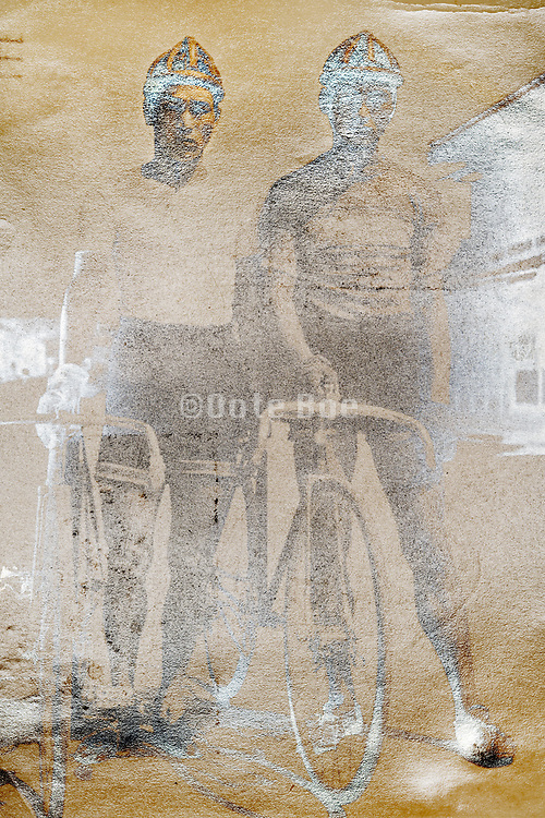 oxidized photograph with two sports cyclist Japan ca 1930s
