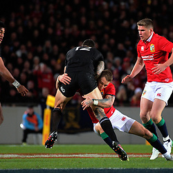 Liam Williams tackles Sonny Bill Williams during the 2017 DHL Lions Series rugby union match between the NZ All Blacks and British & Irish Lions at Eden Park in Auckland, New Zealand on Saturday, 24 June 2017. Photo: Dave Lintott / lintottphoto.co.nz
