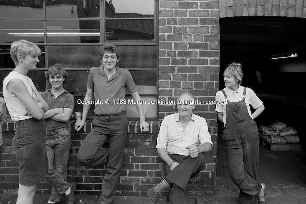 Cutlery workers take a break, Sydney Street Sheffield 1983.