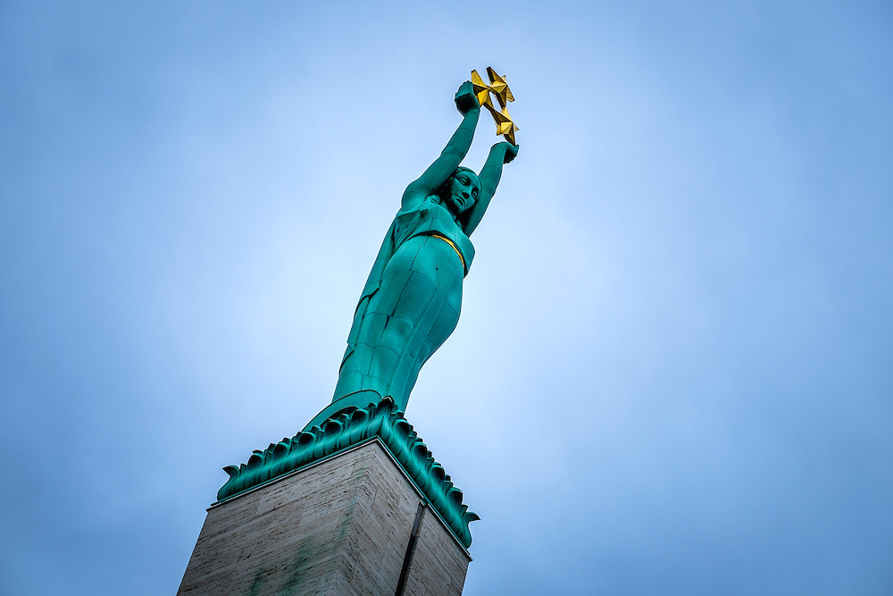 RIGA, LATVIA - CIRCA JUNE 2014: Detail of Sculpture of The Freedom Monument in Riga.