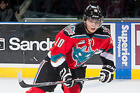 KELOWNA, CANADA - NOVEMBER 30: Nick Merkley #10 of the Kelowna Rockets skates against the Kamloops Blazers on November 30, 2013 at Prospera Place in Kelowna, British Columbia, Canada.   (Photo by Marissa Baecker/Shoot the Breeze)  ***  Local Caption  ***