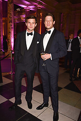 Jeremy Irvine and James Norton at The Sugarplum Dinner 2017 to benefit the type 1 diabetes charity JDRF held at the Victoria & Albert Museum, Cromwell Road, London England. 14 November 2017.<br /> Photo by Dominic O'Neill/SilverHub 0203 174 1069 sales@silverhubmedia.com