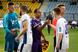 Kenan Pirić of Maribor and Marcos Magno Morales Tavares of Maribor shaking hands with Vladimir Oršolić of Gorica and Adel Halilović of Gorica before football match between NK Maribor and ND Gorica in 22nd Round of Prva liga Telekom Slovenije 2018/19, on March 09, 2019 in Ljudski Vrt, Maribor, Slovenia. Photo by Blaž Weindorfer / Sportida
