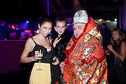 LILLY GARRETT; ANNETTE MILLER; LEO BELLICA;, Dinner and party  to celebrate the launch of the new Cavalli Store at the Battersea Power station. London. 17 September 2011. <br /> <br />  , -DO NOT ARCHIVE-© Copyright Photograph by Dafydd Jones. 248 Clapham Rd. London SW9 0PZ. Tel 0207 820 0771. www.dafjones.com.