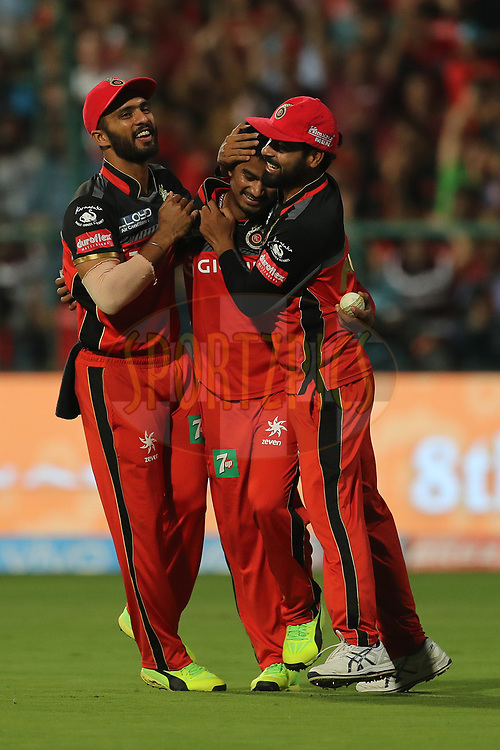 Pawan Negi of the Royal Challengers Bangalore celebrates the wicket of Shahbaz Nadeem of the Delhi Daredevils during match 5 of the Vivo 2017 Indian Premier League between the Royal Challengers Bangalore and the Delhi Daredevils held at the M.Chinnaswamy Stadium in Bangalore, India on the 8th April 2017<br /> <br /> Photo by Ron Gaunt - IPL - Sportzpics