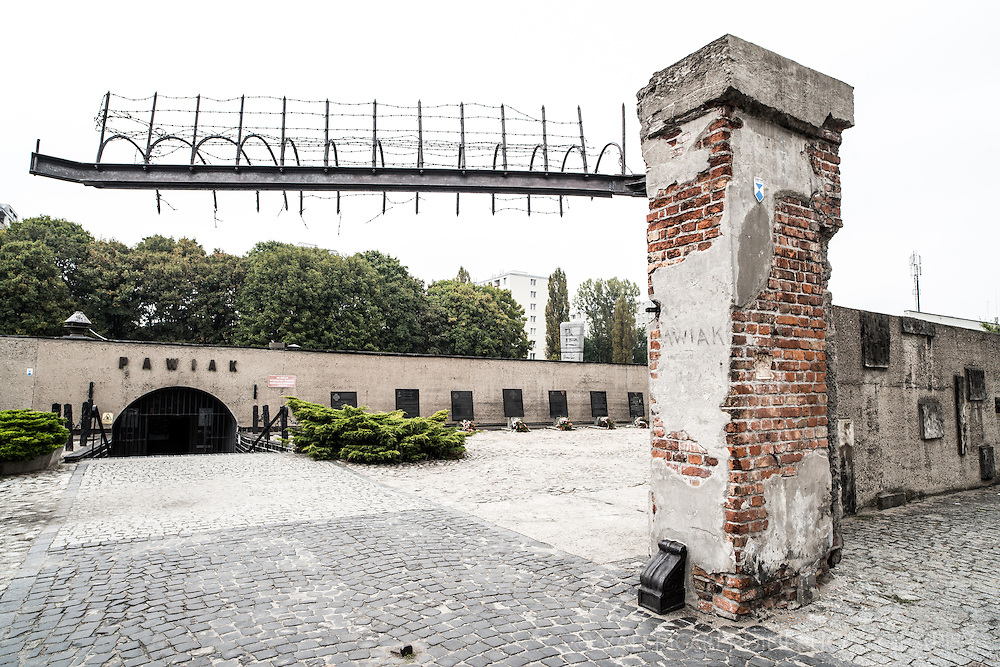 Ruin of Pawiak prison gate on its original site. During the occupation the prison was used as a concentration camp by the SS, taken and lost by the resistance in uprising, it was finally destroyed by the Nazis on August 21 1944. An unknown number of remaining prisoners were shot and the buildings burned and blown up.