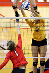 07 October 2017:  Sydney Bronner & Allie Line during a college women's volleyball match between the Crusaders of Valparaiso and the Illinois State Redbirds at Redbird Arena in Normal IL (Photo by Alan Look)