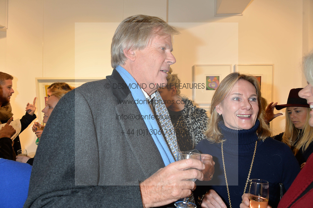 LADY MARY-GAYE CURZON and her former husband JOHN NSTRUTHER-GOUGH-CALTHORPE at a private view entitled Stop Making Sense featuring work by Georgiana Anstruther and Carol Corell held at Lacey Contemporary, 8 Clarendon Cross, London on 9th March 2016.