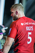 George Kruis, Lock (Saracens) talking with Saracens supporters following the Gallagher Premiership Rugby match between Harlequins and Saracens at Twickenham Stoop, Twickenham, United Kingdom on 6 October 2018.