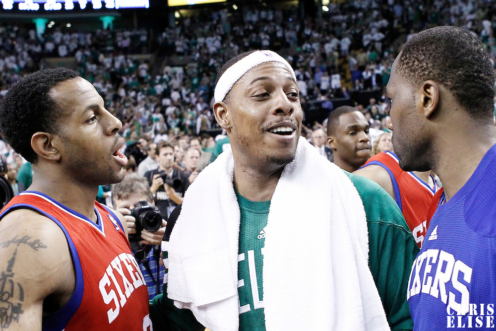 26 May 2012:  Boston Celtics small forward Paul Pierce (34) is congratulated by Philadelphia Sixers small forward Andre Iguodala (9) and Philadelphia Sixers power forward Elton Brand (42) at the end of the  Boston Celtics 85-75 victory over the Philadelphia Sixer, in Game 7 of the Eastern Conference semifinals playoff series, at the TD Banknorth Garden, Boston, Massachusetts, USA.