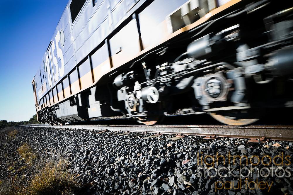 Speeding Freight Train, Rural NSW, Australia