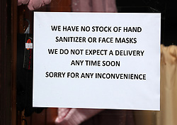 A sign in a pharmacy window in the main street in Callander, Perthshire as the UK continues in lockdown to help curb the spread of the coronavirus.