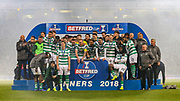 Celtic players await the arrival of the Betfred Cup following the Betfred Cup Final between Celtic and Aberdeen at Celtic Park, Glasgow, Scotland on 2 December 2018.