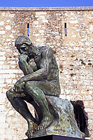 copy of the thinker of rodin of the typical south east of france old stone village of saint paul de vence on the french riviera refuge of many artist,painters,sculptors