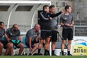 Forest Green Rovers manager, Mark Cooper discusses tactics with Forest Green Rovers assistant manager, Scott Lindsey during the Pre-Season Friendly match between Torquay United and Forest Green Rovers at Plainmoor, Torquay, England on 10 July 2018. Picture by Shane Healey.