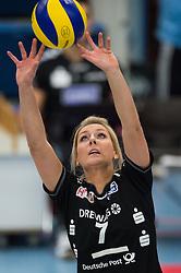 09-11-2014 GER: USC Muenster - Dresdner SC, Munster<br /> Halle Berg Fidel / Zuspiel Laura Dijkema (#7 Dresden)<br /> <br /> ***NETHERLANDS ONLY***