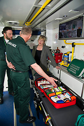 Pictured: <br /> <br /> Health Secretary Shona Robison met paramedics today on a visit to Scottish Ambulance Service's city station where she announced new funding for the service<br /> Ger Harley | EEm 24 April 2017