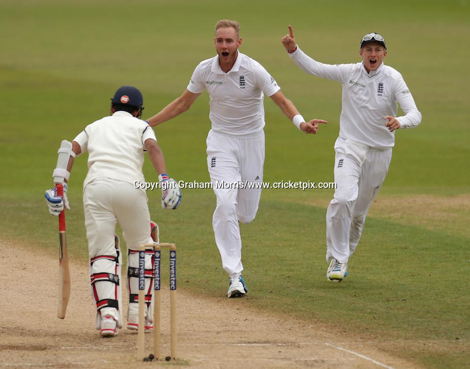 Stuart Broad, International Test Cricket, England v India, first test, Trent Bridge, Nottingham, England. 9-13 July 2014. Photo: Graham Morris/www.photosport.co.nz