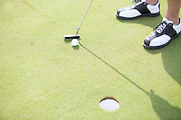 High angle view of man playing golf