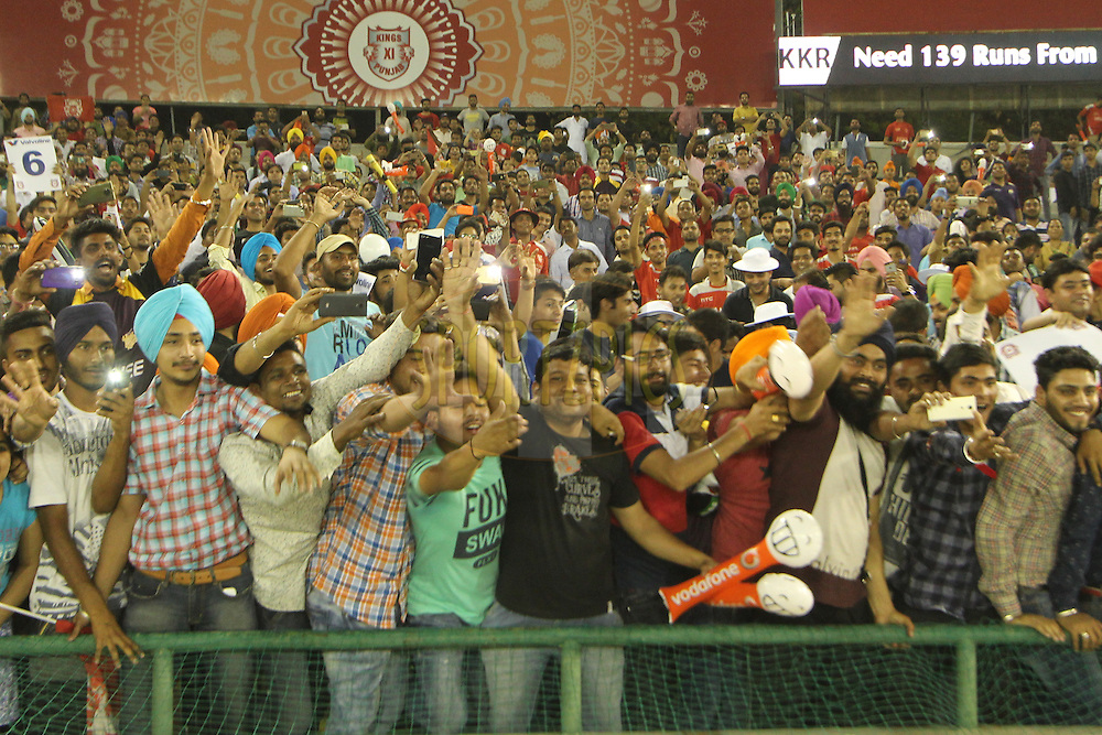 Fans Kings XI Punjab owner during match 13 of the Vivo Indian Premier League ( IPL ) 2016 between the Kings XI Punjab and the Kolkata Knight Riders held at the IS Bindra Stadium, Mohali, India on the 19th April 2016<br /> <br /> Photo by Arjun Singh / IPL/ SPORTZPICS