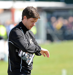 """Time running out for Bristol Rovers"", Bristol Rovers Manager, Darrell Clarke checks his watch - Photo mandatory by-line: Neil Brookman/JMP - Mobile: 07966 386802 - 18/04/2015 - SPORT - Football - Dover - Crabble Athletic Ground - Dover Athletic v Bristol Rovers - Vanarama Football Conference"